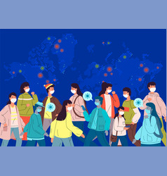 Coronavirus pandemic concept world map and crowds vector