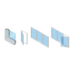 Cross section through a window pane pvc profile vector
