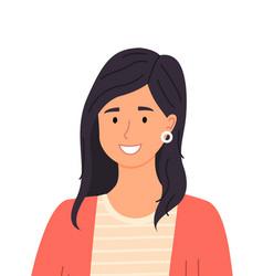 Cute brunette hispanic girl smiling woman vector