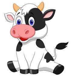 Cute cow cartoon sitting vector