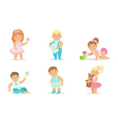 Cute happy toddler babies set adorable cheerful vector
