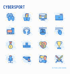 Cybersport thin line icons set vector
