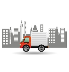 delivery car city background design vector image