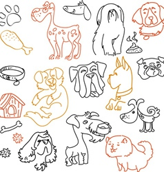 Doodle dogs set - pen on paper vector image