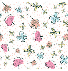 Doodle girly wildflowers seamless pattern vector
