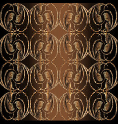 Embroidery style 3d baroque seamless pattern vector