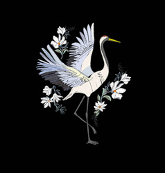 Embroidery with crane bird fashion decoration vector