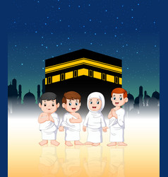 family are doing pilgrimage in front kabah vector image