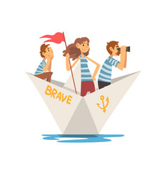 father mother and son in striped t-shirts boating vector image
