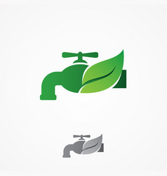 faucet and leaf element design vector image
