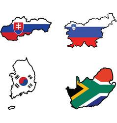 Flag in map slovakiasloveniasouth africasouth k vector
