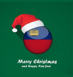 Flag liechtenstein merry christmas and happy vector