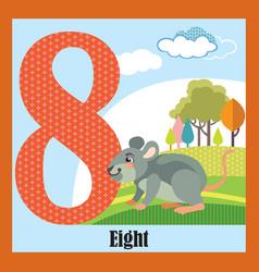 Flat animal numbers 8 vector