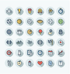 flat color thin line icons set with sport vector image