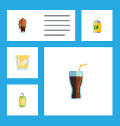Flat icon beverage set of drink lemonade vector