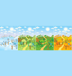 four seasons set vector image