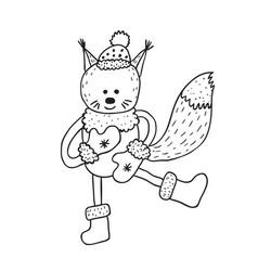 Funny squirrel nursery art minimalist vector
