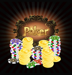 Gambling chips and gold coins poker vector