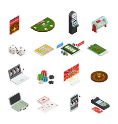 Gambling colored isometric icons vector