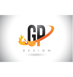 gp g p letter logo with fire flames design and vector image