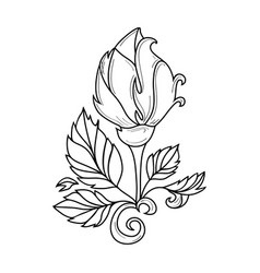 Hand drawn sketch rose with leaves vector