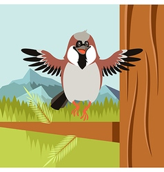 Happy Sparrow on the Tree flat background vector image