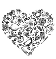 Heart design with black and white cinnamon lemons vector