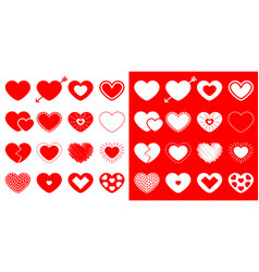 heart icon set happy valentines day sign symbol vector image