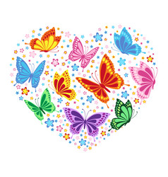 Heart of butterflies and flowers vector