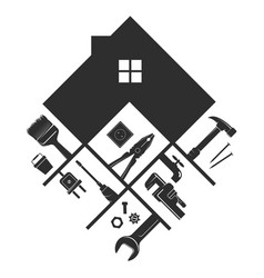House and miscellaneous tool symbol for handyman vector