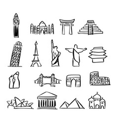icon set of famous landmarks around the world vector image