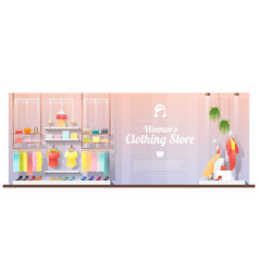Interior background of women clothing store vector