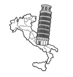 italy map and leaning tower pisa sketch vector image