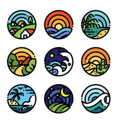 Landscape line art color vector