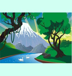 Landscape - mountain river swans on the river vector