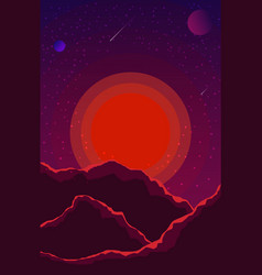 landscape with sunset planets and starry sky vector image