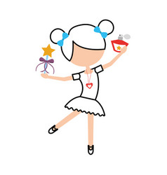 little girl dancer ballet holding magic wand and vector image