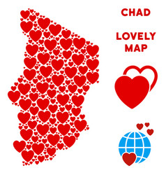 lovely chad map collage of hearts vector image
