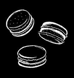 Macarons white chalk on black vector