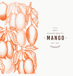 mango design template hand drawn tropic fruit vector image