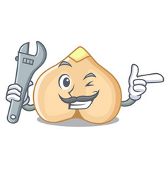 mechanic chickpeas mascot cartoon style vector image