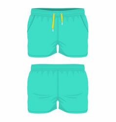 Mens green sport shorts vector