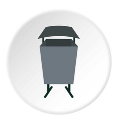 metal rubbish bin icon circle vector image