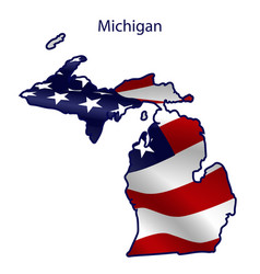 michigan full american flag waving in wind vector image