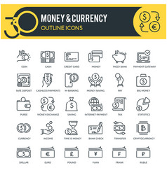 money and currency outline icons vector image
