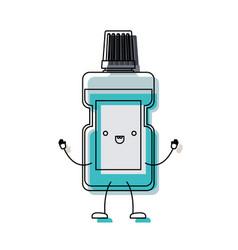 Mouthwash bottle cartoon in watercolor silhouette vector