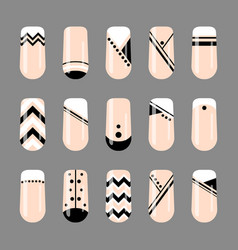 nail art geometric black and white nude design vector image