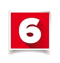 Number six label or number icon vector