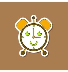 Paper sticker on stylish background kids toy alarm vector