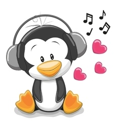 Penguin with headphones vector